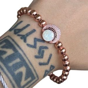 Rose gold plated cz & shell moon charm bracelet